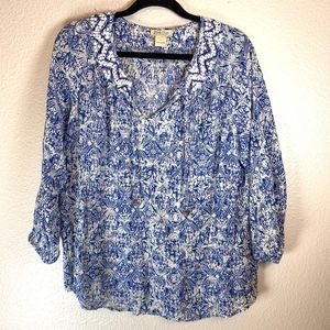 Lucky Brand Blue and White Boho Blouse